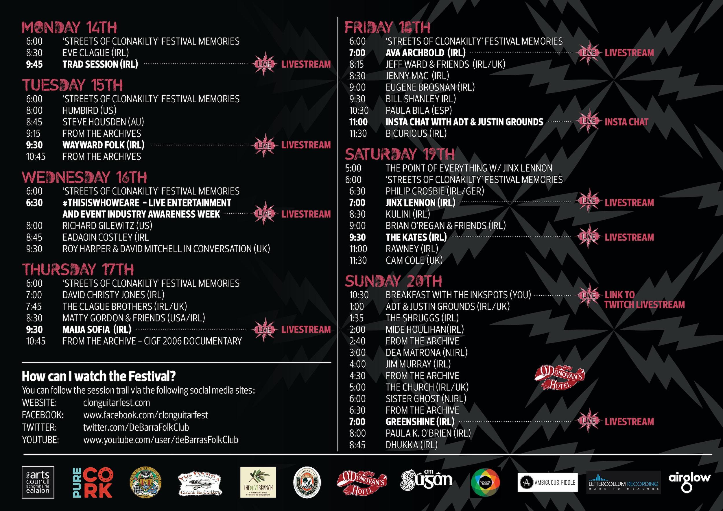 Clonakilty Guitar Festival announces programme for online fest that opens Monday Sept 14