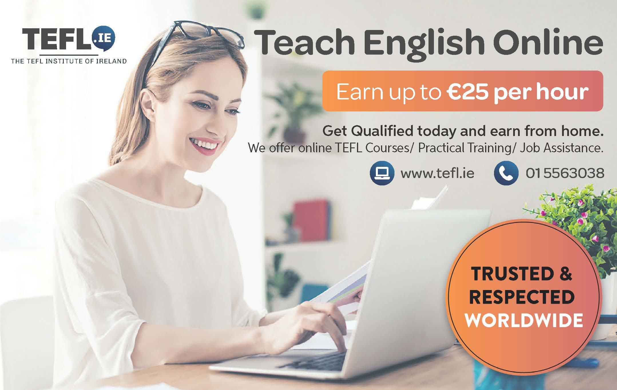 Earn up to €25 per hour by teaching English online